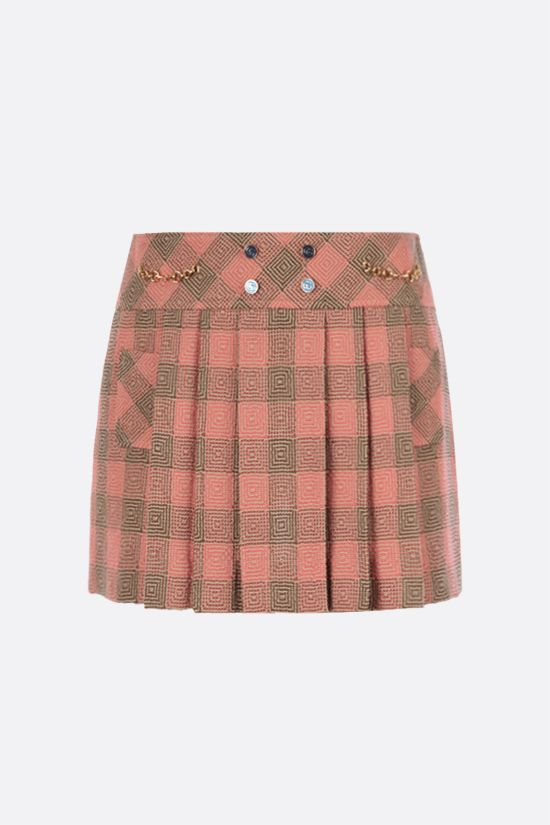 GUCCI: optical damier wool mini skirt_1
