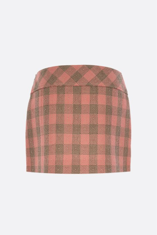 GUCCI: optical damier wool mini skirt Color Orange_2