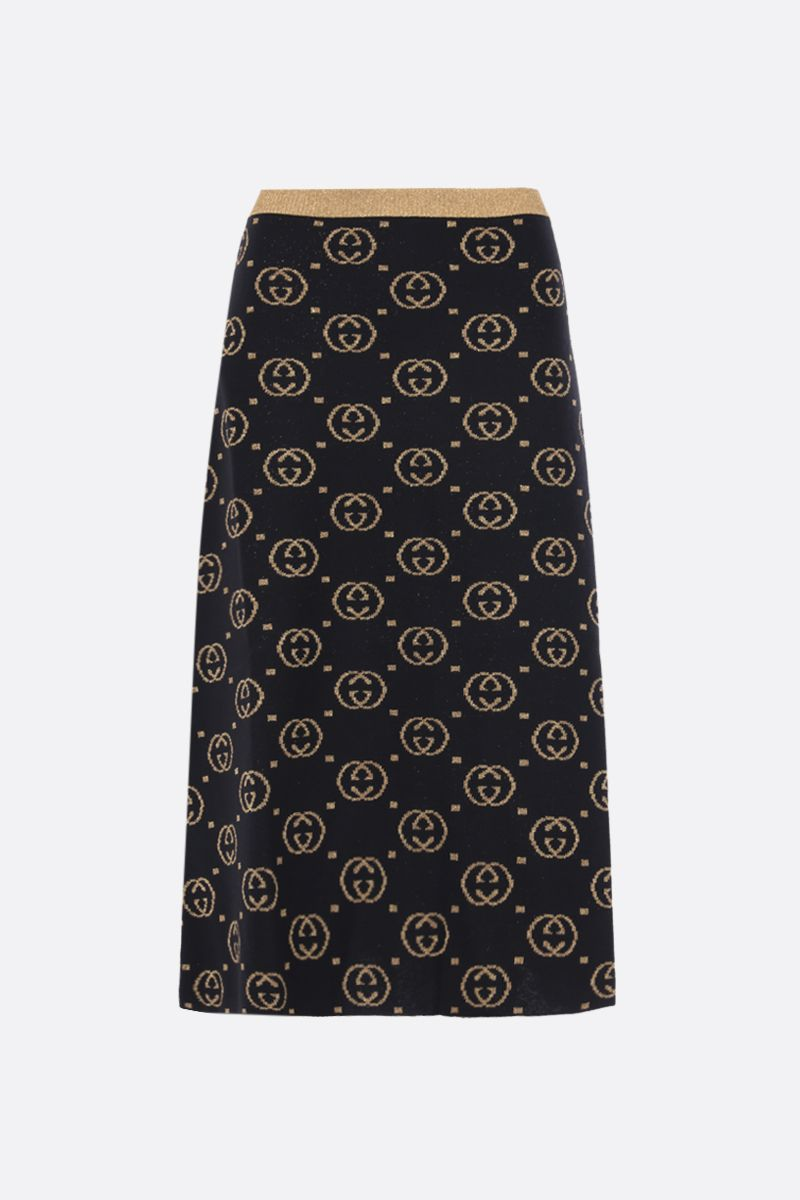 GUCCI: GG wool and lurex A-line skirt Color Black_1