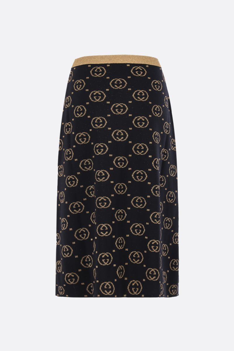 GUCCI: GG wool and lurex A-line skirt Color Black_2