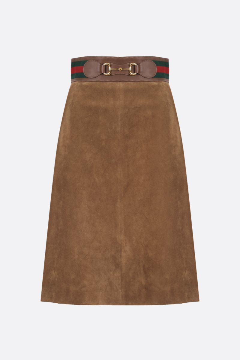GUCCI: Horsebit-detailed suede A-line skirt Color Neutral_1