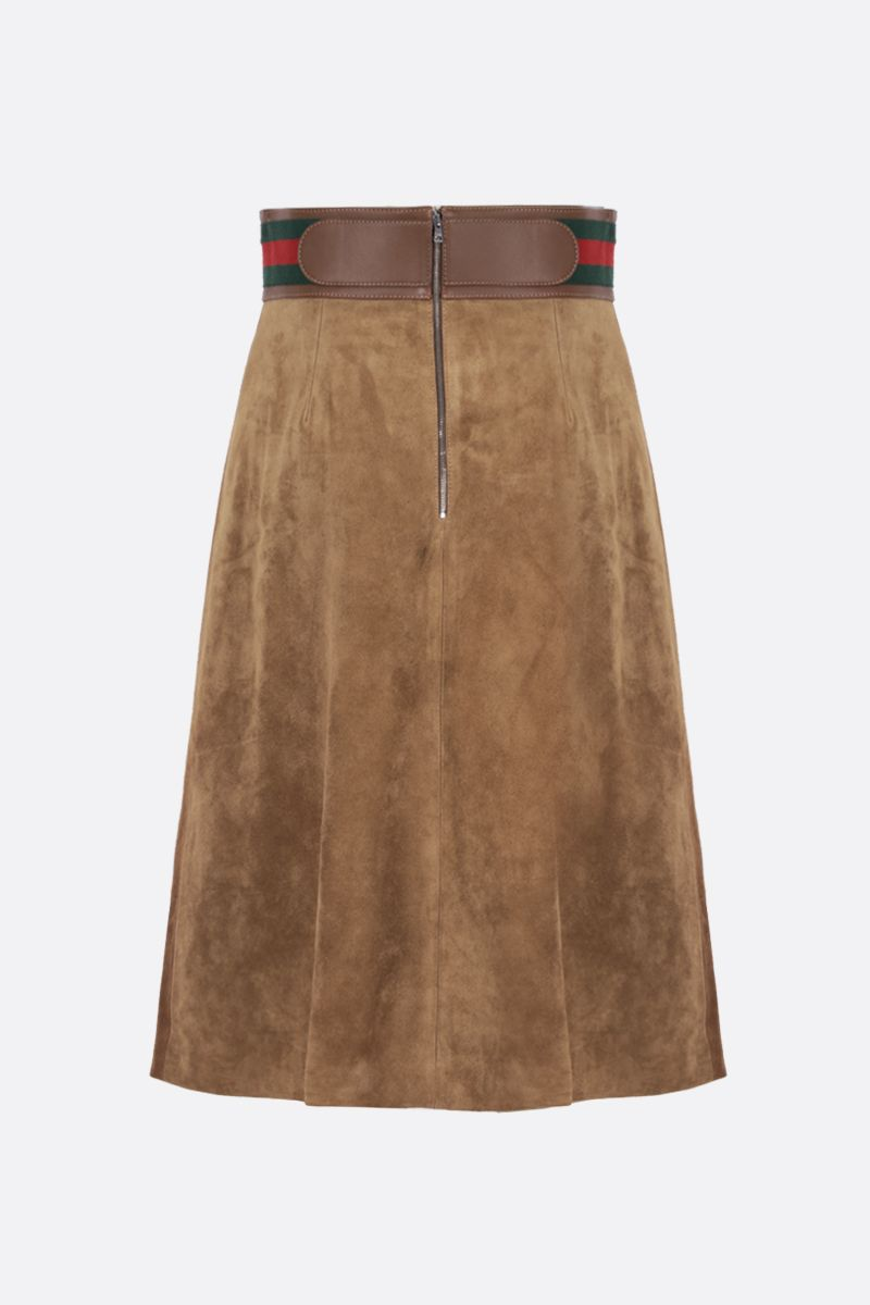 GUCCI: Horsebit-detailed suede A-line skirt Color Neutral_2