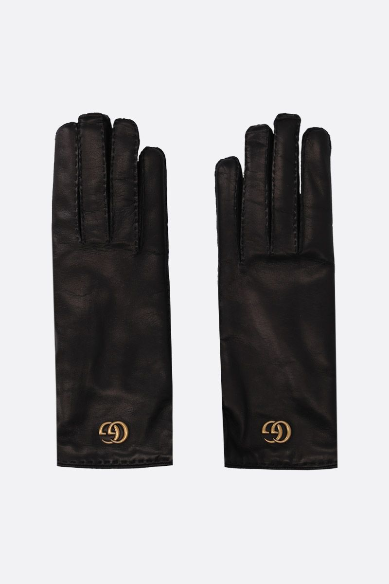 GUCCI: Double G-detailed nappa gloves Color Multicolor_1