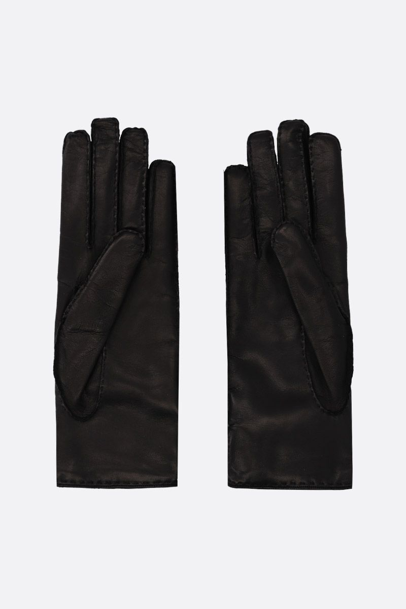 GUCCI: Double G-detailed nappa gloves Color Multicolor_2