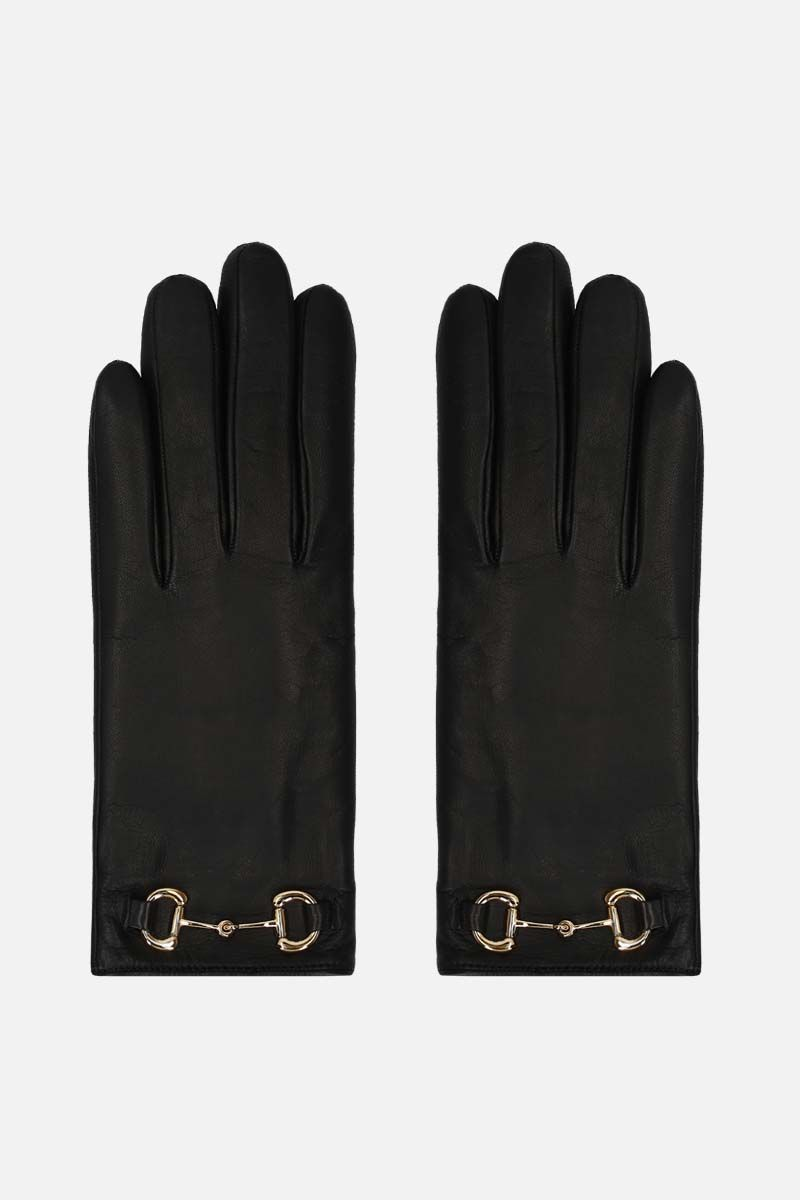 GUCCI: Horsebit-detailed nappa gloves Color Black_1