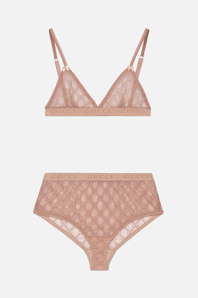 GUCCI: set lingerie in tulle GG Colore Rosa_1