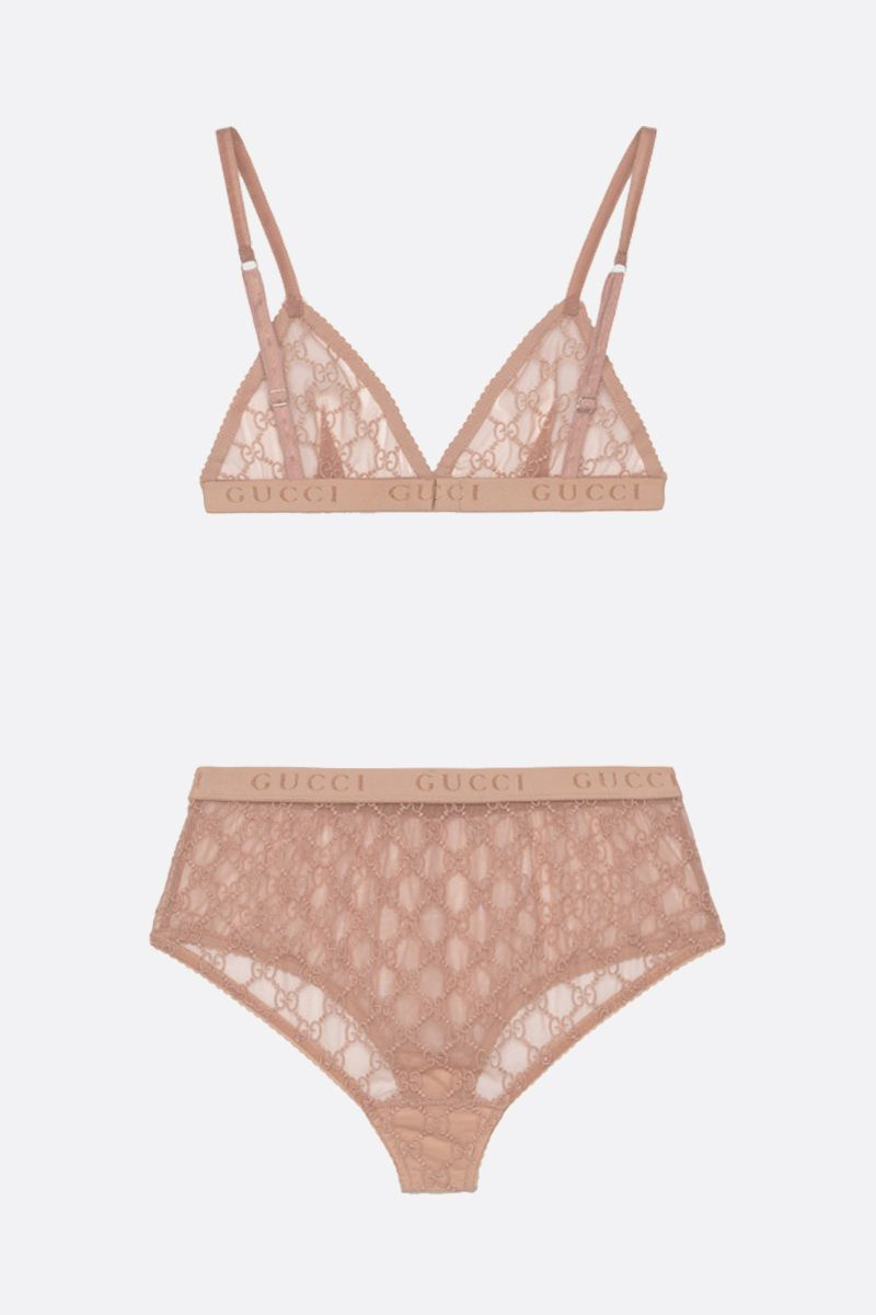 GUCCI: set lingerie in tulle GG Colore Rosa_2