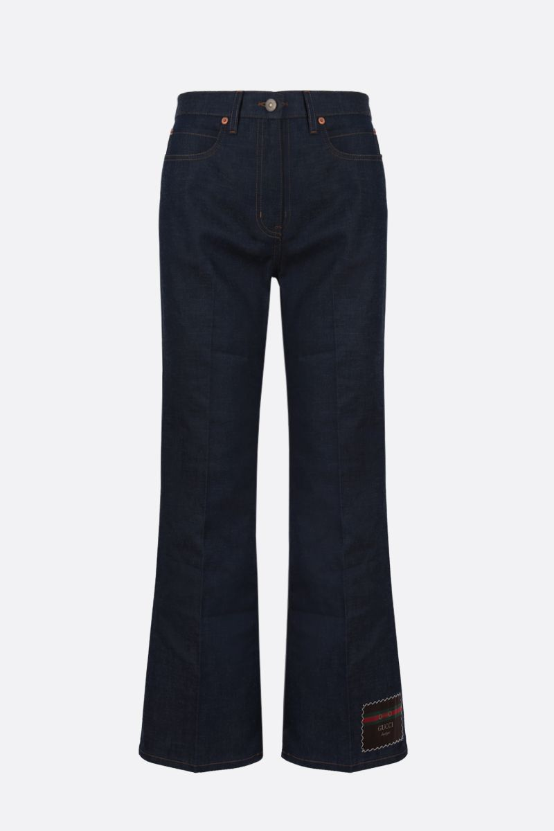 GUCCI: Gucci Boutique label cropped jeans Color Blue_1