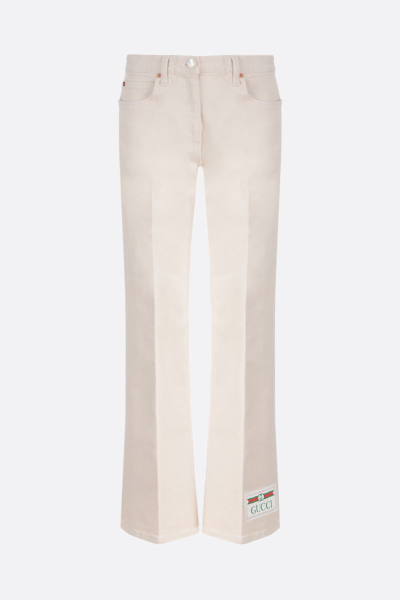 GUCCI: Gucci label cropped jeans Color White_1