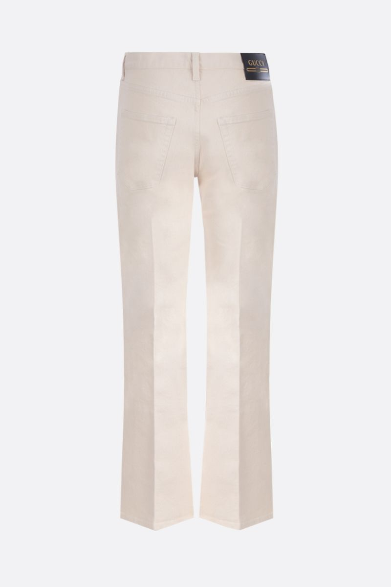 GUCCI: Gucci label cropped jeans Color White_2