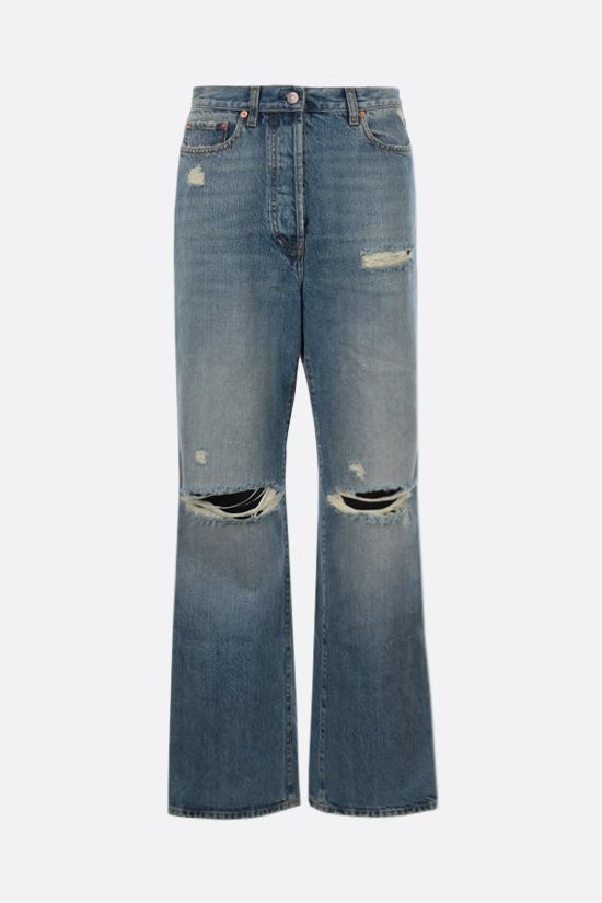 GUCCI: distressed-effect organic cotton jeans Color Blue_1