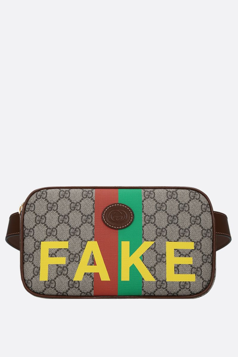 GUCCI: Fake/Not print GG Supreme belt bag Color Neutral_1
