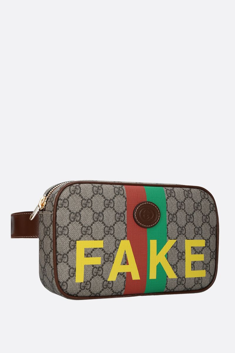 GUCCI: Fake/Not print GG Supreme belt bag Color Neutral_2
