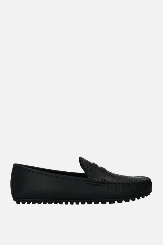 GUCCI: Gucci Signature driving loafers in GG leather Color Black_1