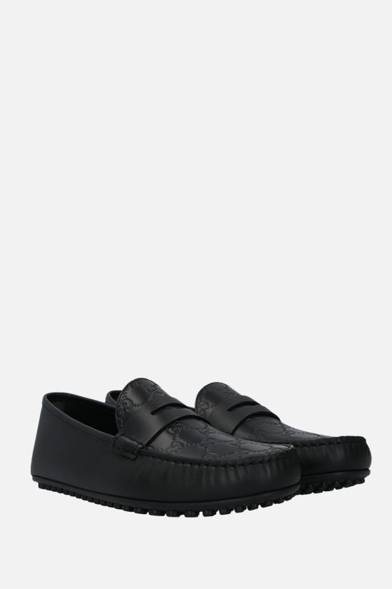 GUCCI: Gucci Signature driving loafers in GG leather Color Black_2