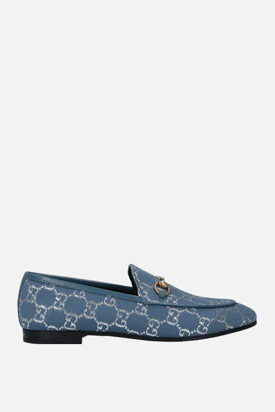 GUCCI: Gucci Jordaan loafers in GG lamè fabric Color Blue_1