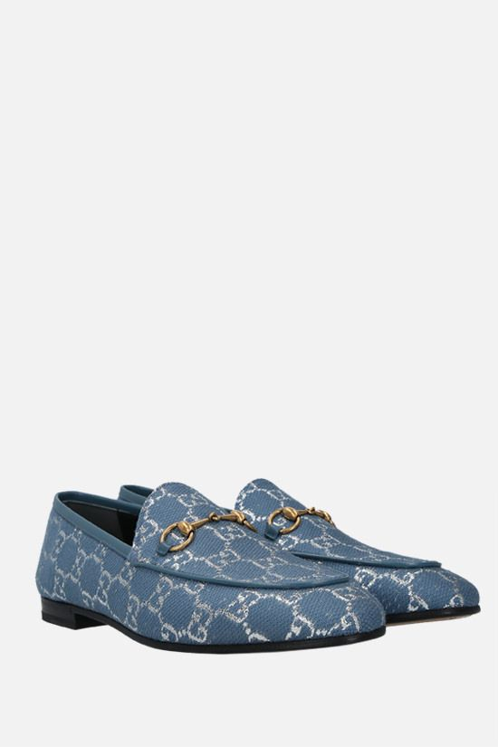 GUCCI: Gucci Jordaan loafers in GG lamè fabric Color Blue_2