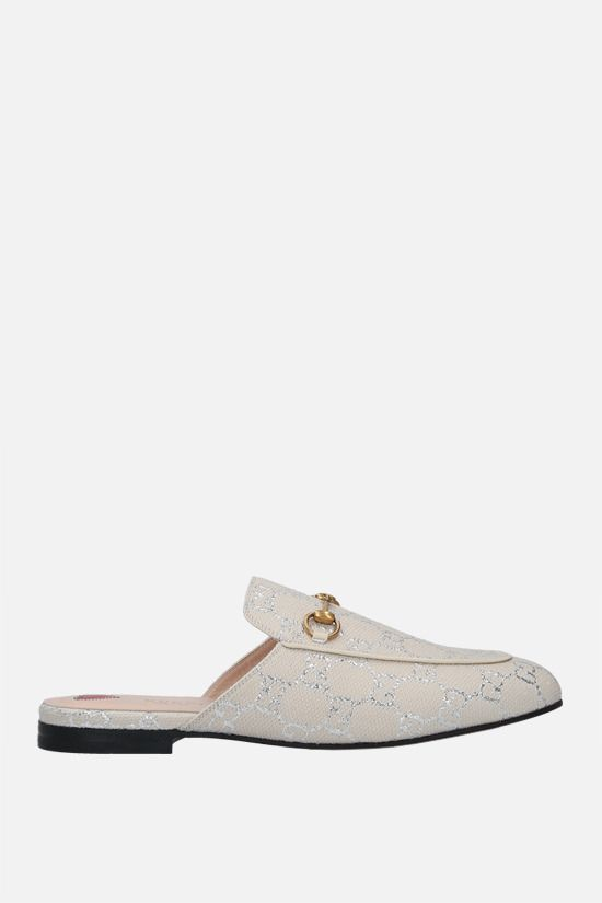 GUCCI: Princetown slippers in GG lamè fabric Color White_1