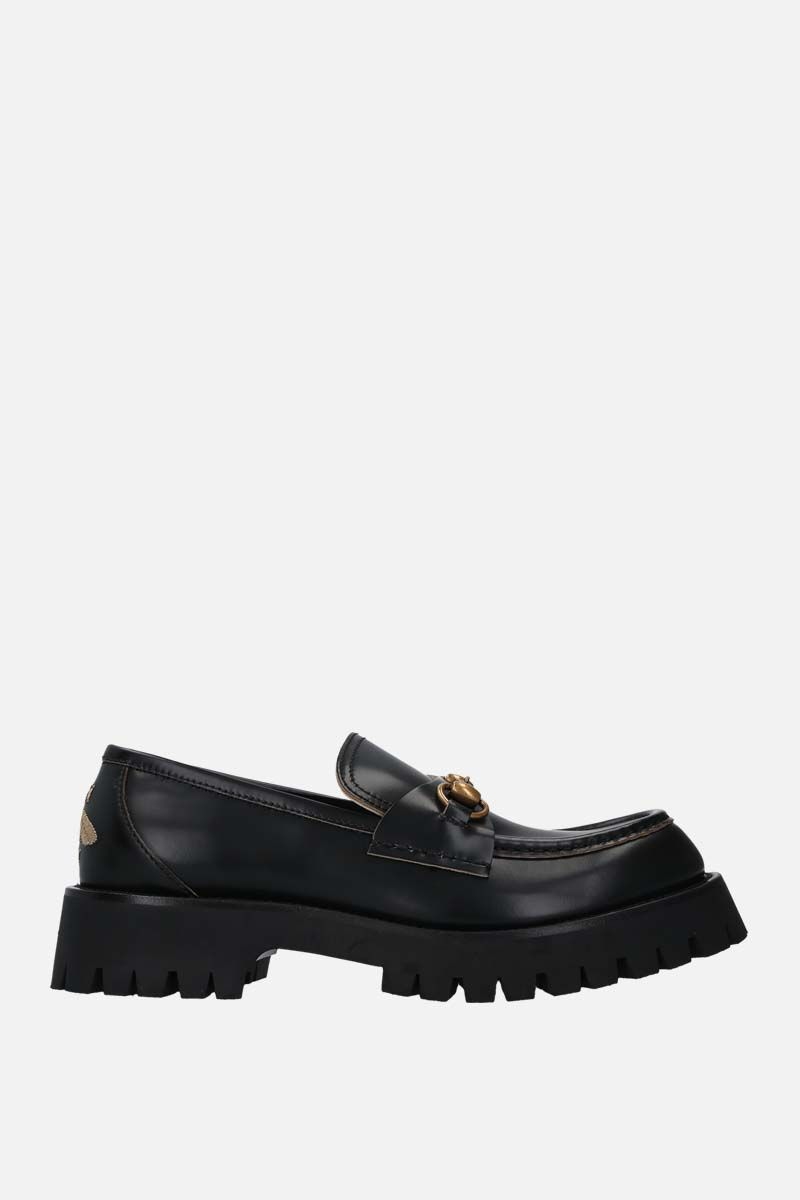 GUCCI: Horsebit-detailed shiny leather loafers Color Black_1