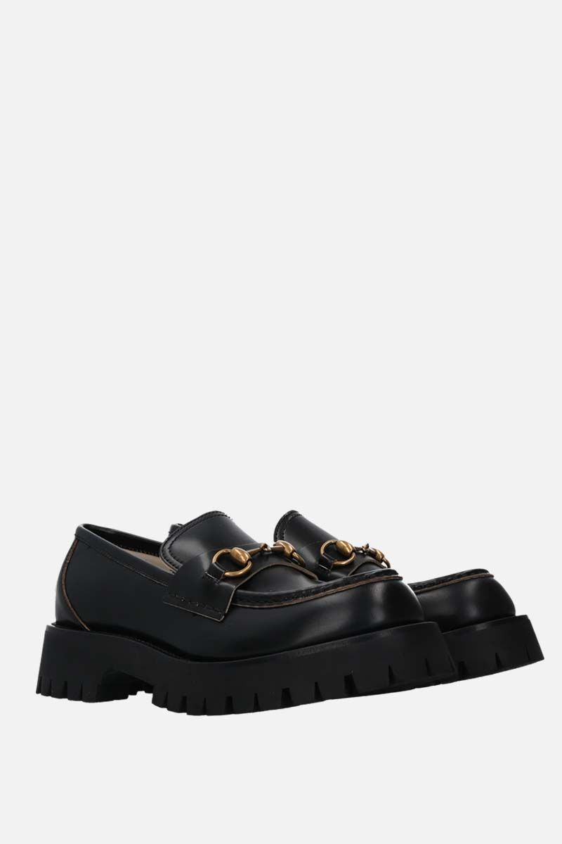 GUCCI: Horsebit-detailed shiny leather loafers Color Black_2