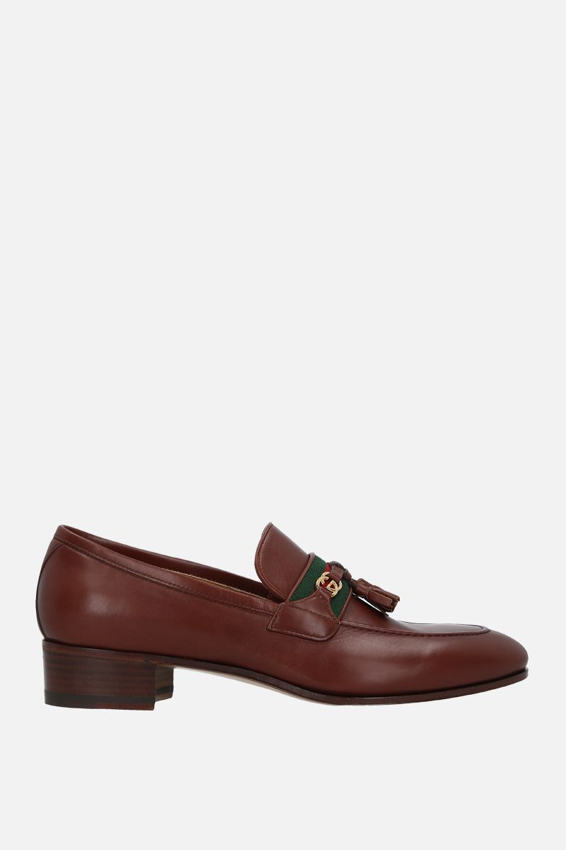 GUCCI: Web-detailed smooth leather loafers Color Brown_1