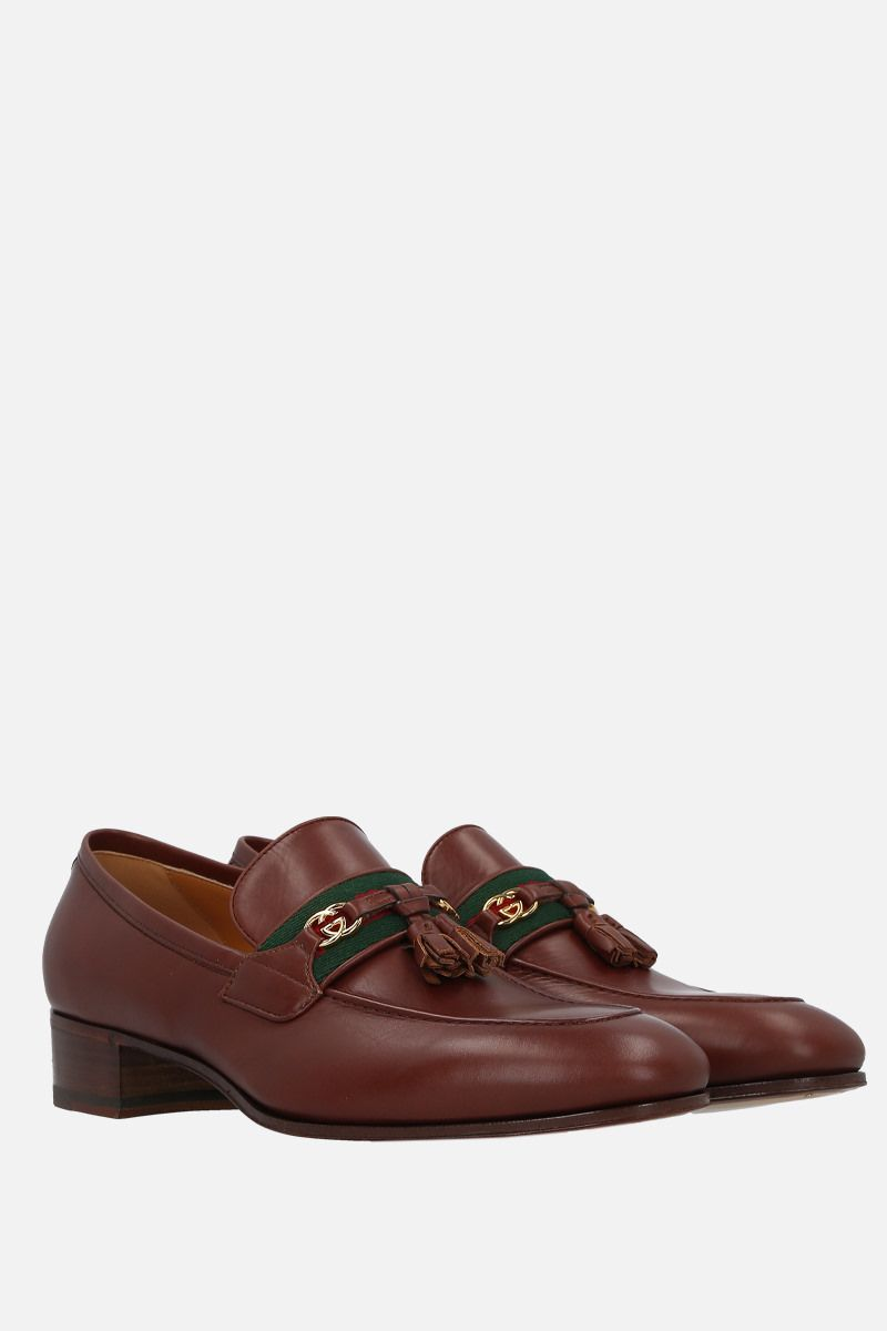 GUCCI: Web-detailed smooth leather loafers Color Brown_2