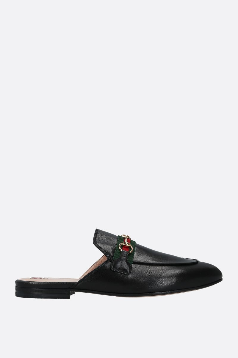 GUCCI: Princetown smooth leather slippers Color Black_1