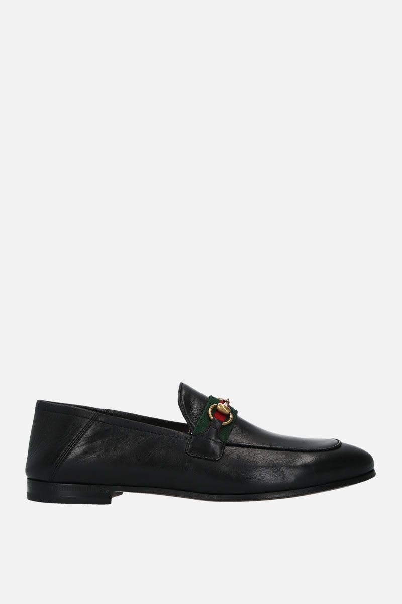GUCCI: Web-detailed smooth leather loafers Color Black_1