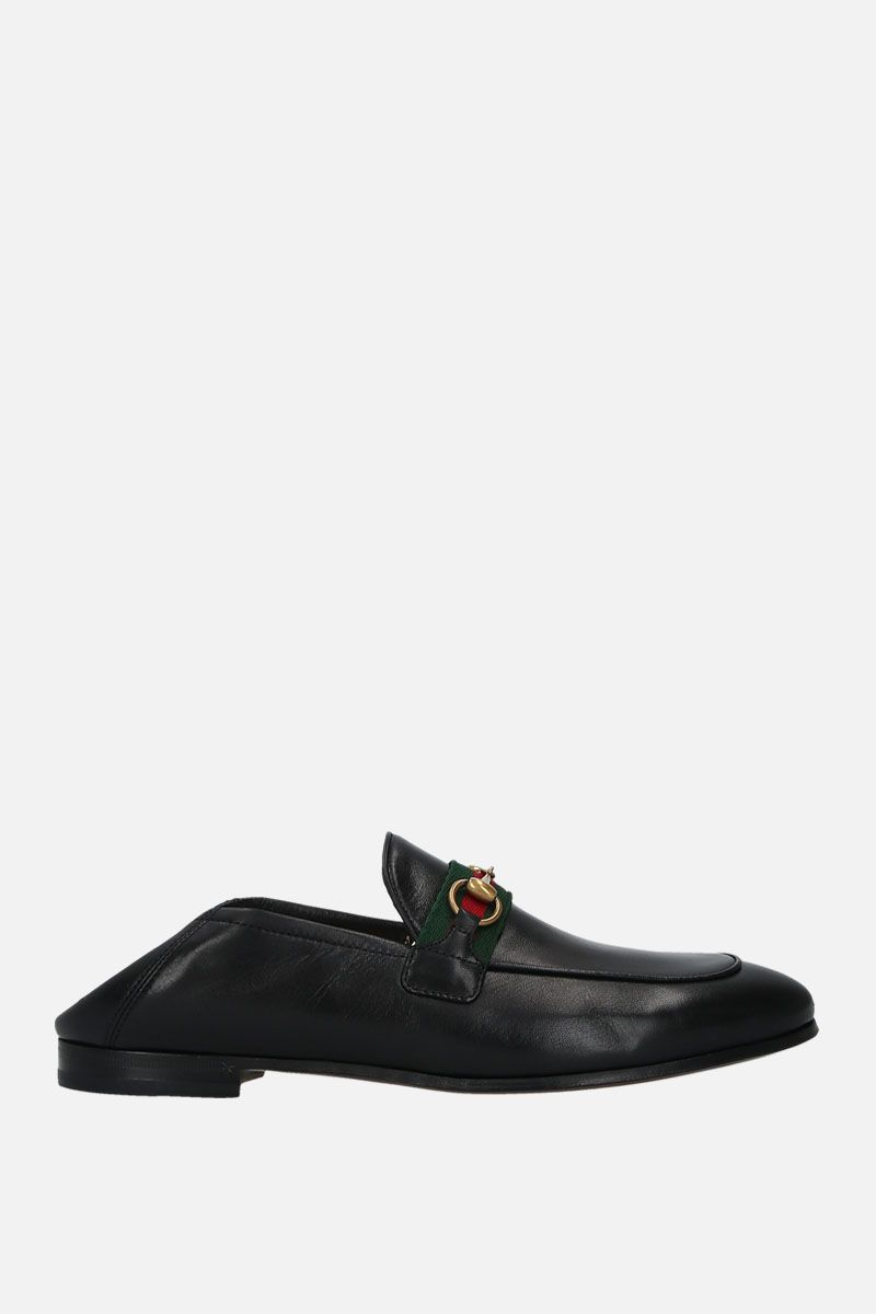 GUCCI: Web-detailed smooth leather loafers Color Black_2