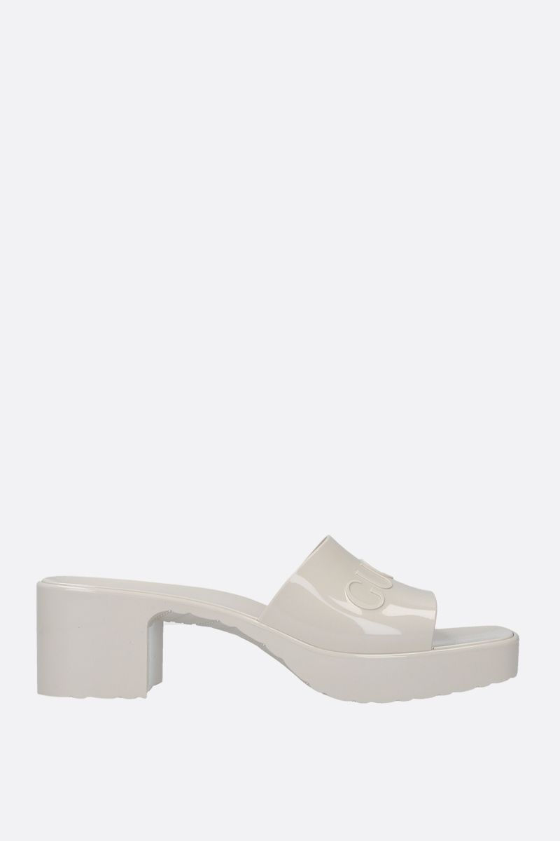 GUCCI: logo-detailed rubber mule sandals Color White_1