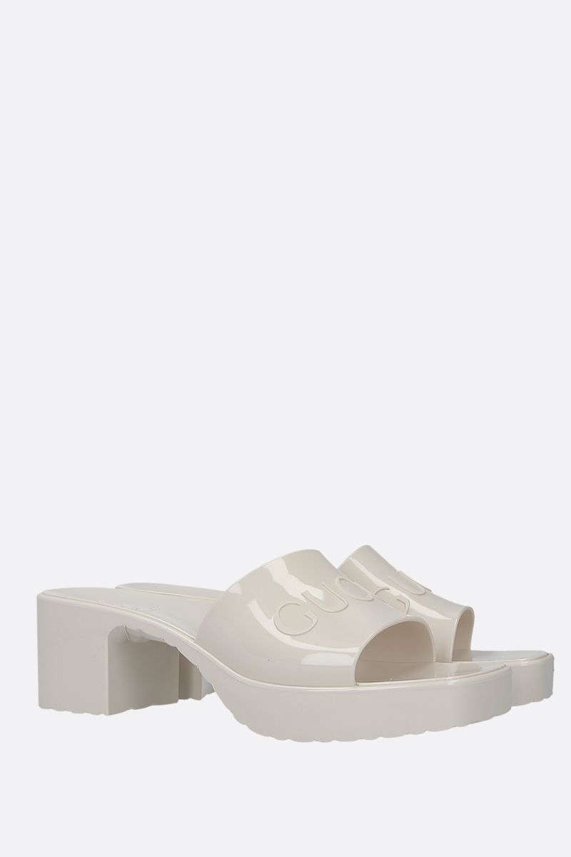 GUCCI: logo-detailed rubber mule sandals Color White_2