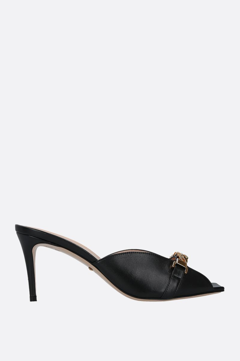 GUCCI: chain-detailed smooth leather mule sandals Color Black_1
