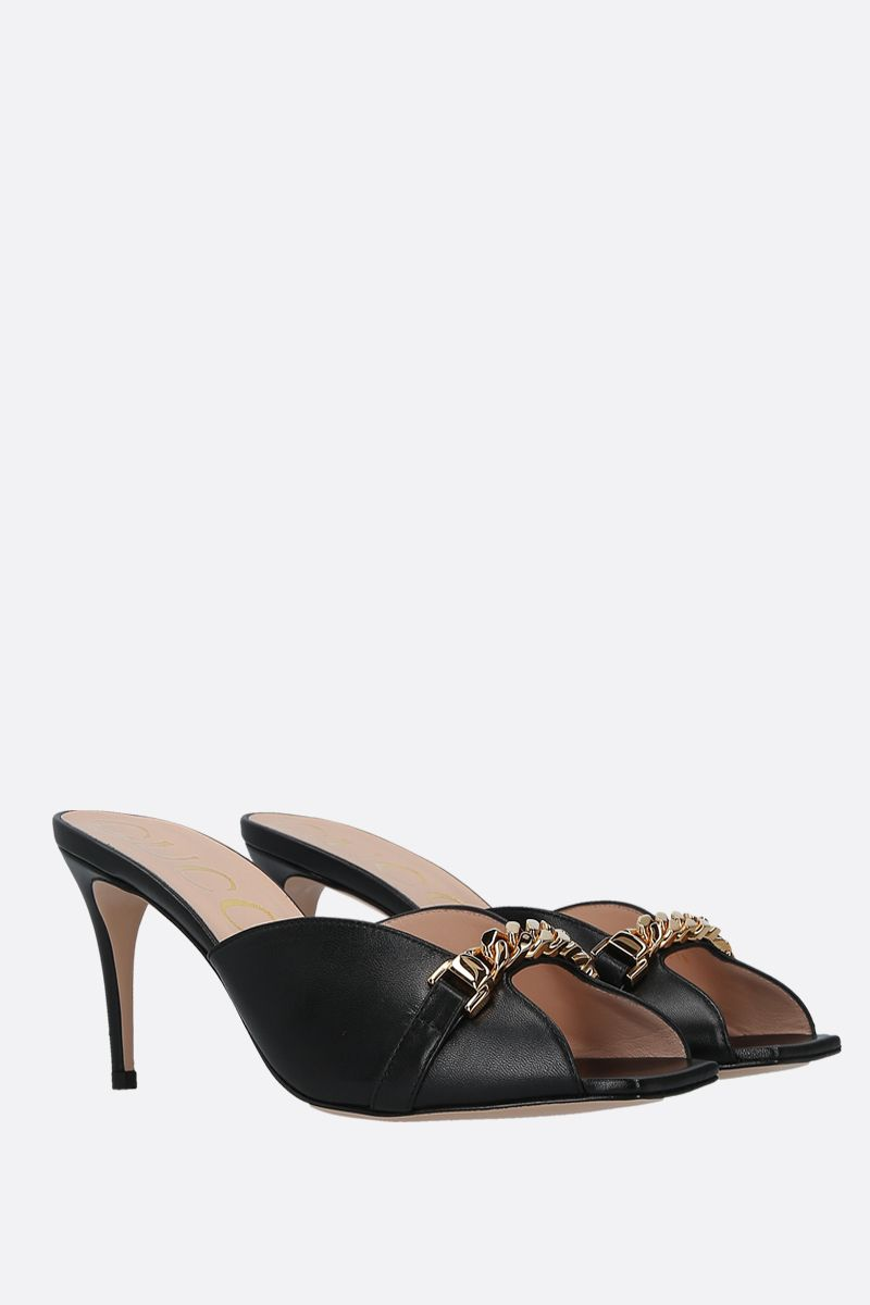 GUCCI: chain-detailed smooth leather mule sandals Color Black_2