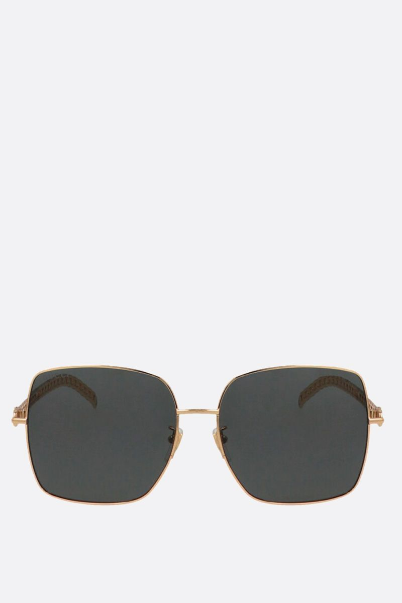 GUCCI: GG charm-detailed metal sunglasses Color Gold_1