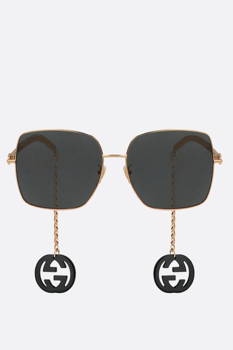 GUCCI: GG charm-detailed metal sunglasses Color Gold_2