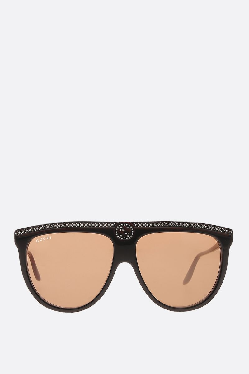 GUCCI: crystals-embellished acetate aviator sunglasses Color Black_1