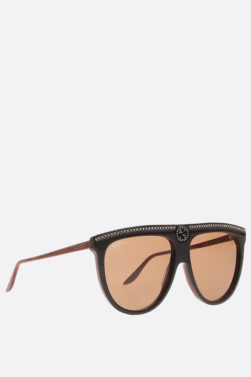 GUCCI: crystals-embellished acetate aviator sunglasses Color Black_2