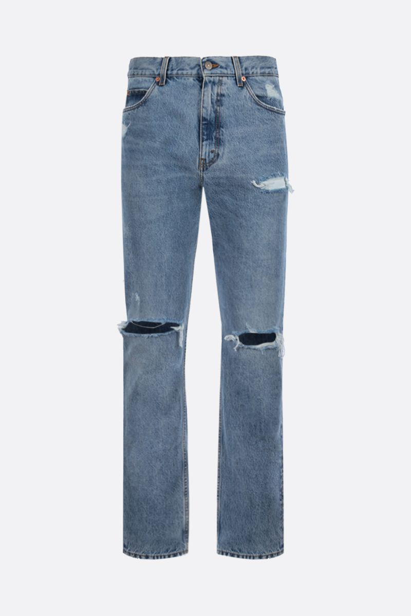 GUCCI: regular-fit jeans with distressed effect Color Blue_1
