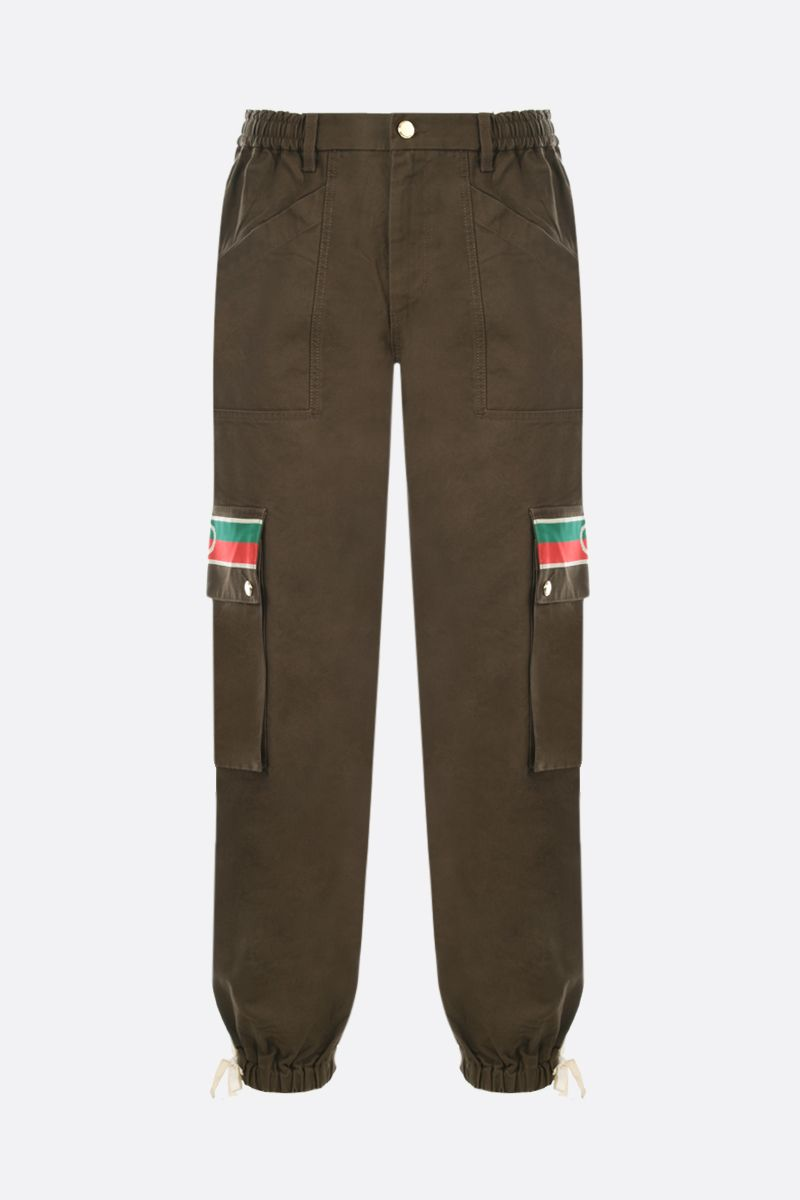GUCCI: Interlocking G stripe-detailed cotton cargo pants Color Brown_1