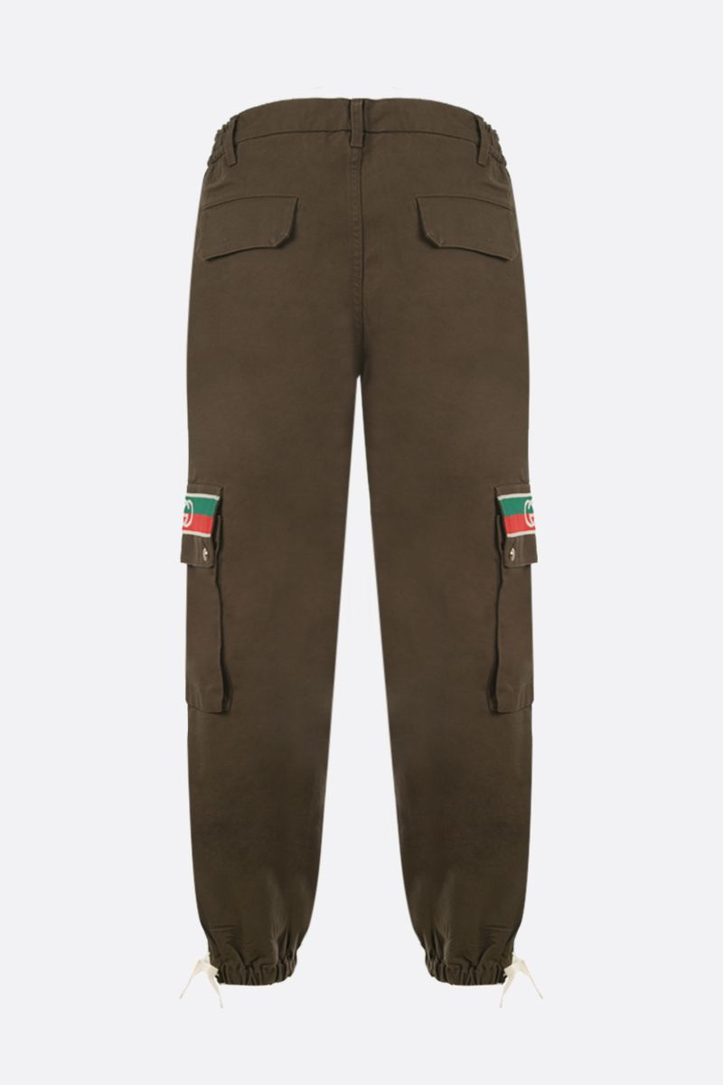 GUCCI: Interlocking G stripe-detailed cotton cargo pants Color Brown_2