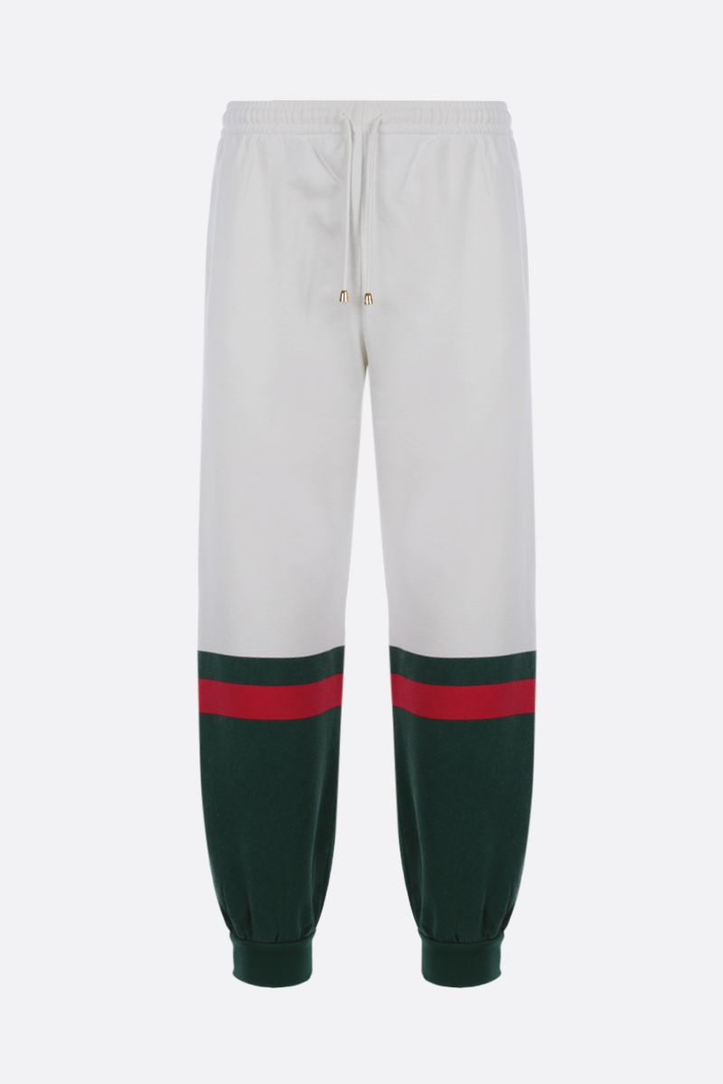 GUCCI: Web-detailed cotton joggers Color Neutral_1
