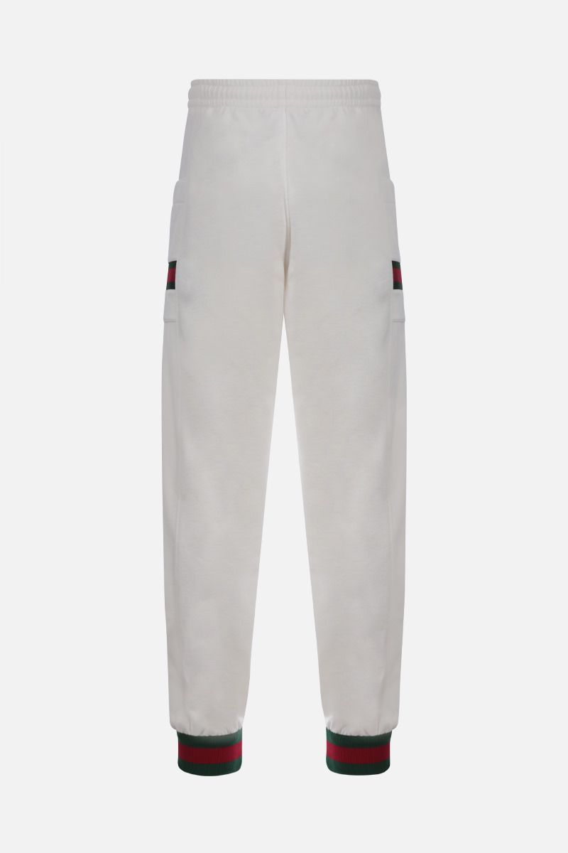 GUCCI: Web-detailed cotton joggers Color White_2