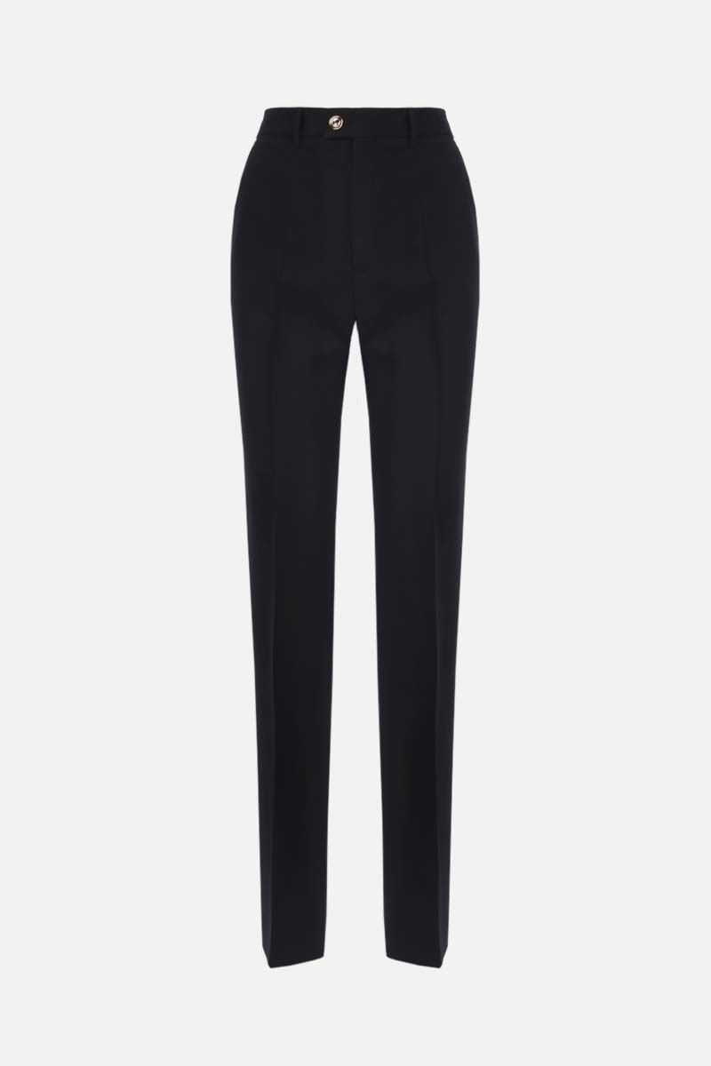 GUCCI: straight-fit silk wool blend pants Color Black_1