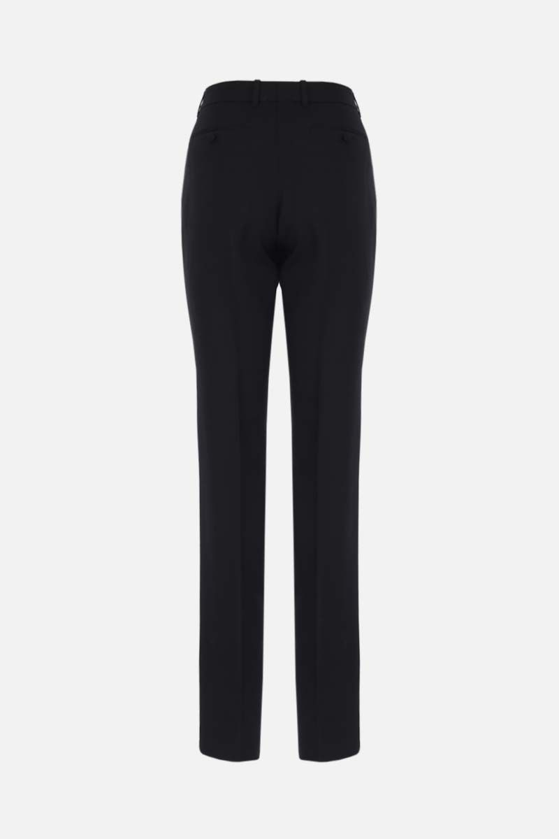 GUCCI: straight-fit silk wool blend pants Color Black_2