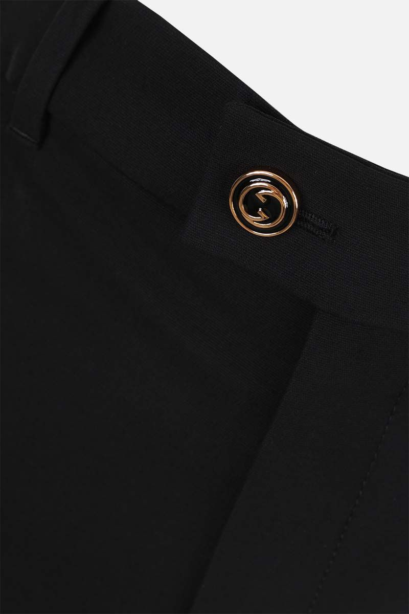GUCCI: straight-fit silk wool blend pants Color Black_3