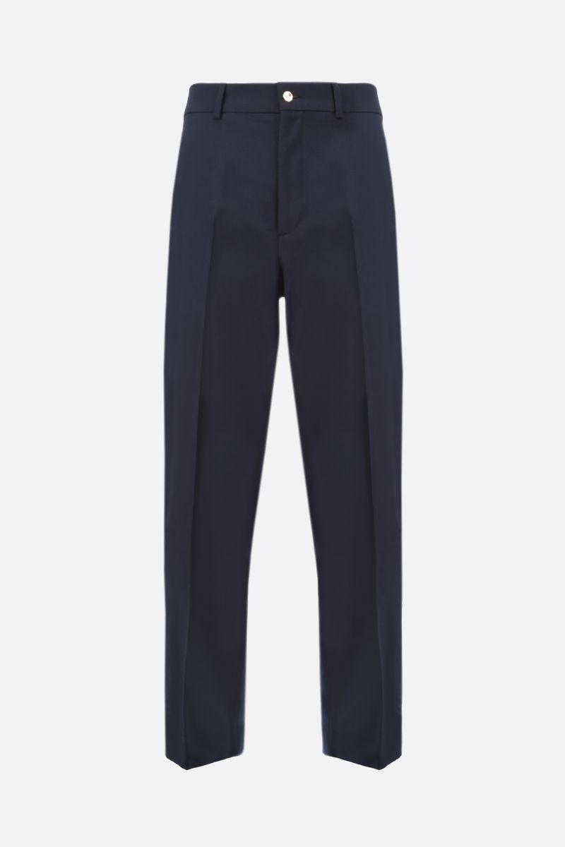 GUCCI: wool cotton blend regular-fit pants Color Blue_1