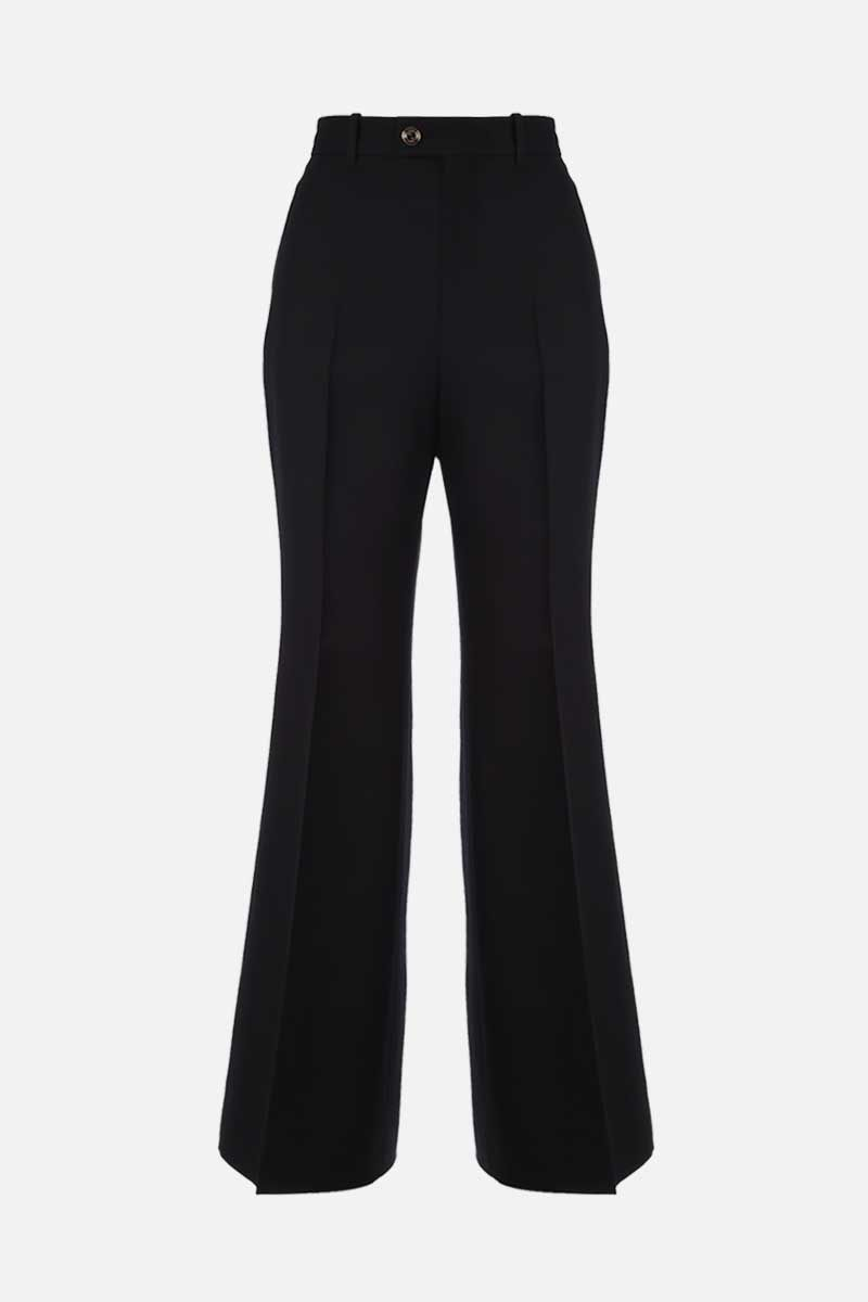 GUCCI: wool silk blend cropped pants Color Black_1