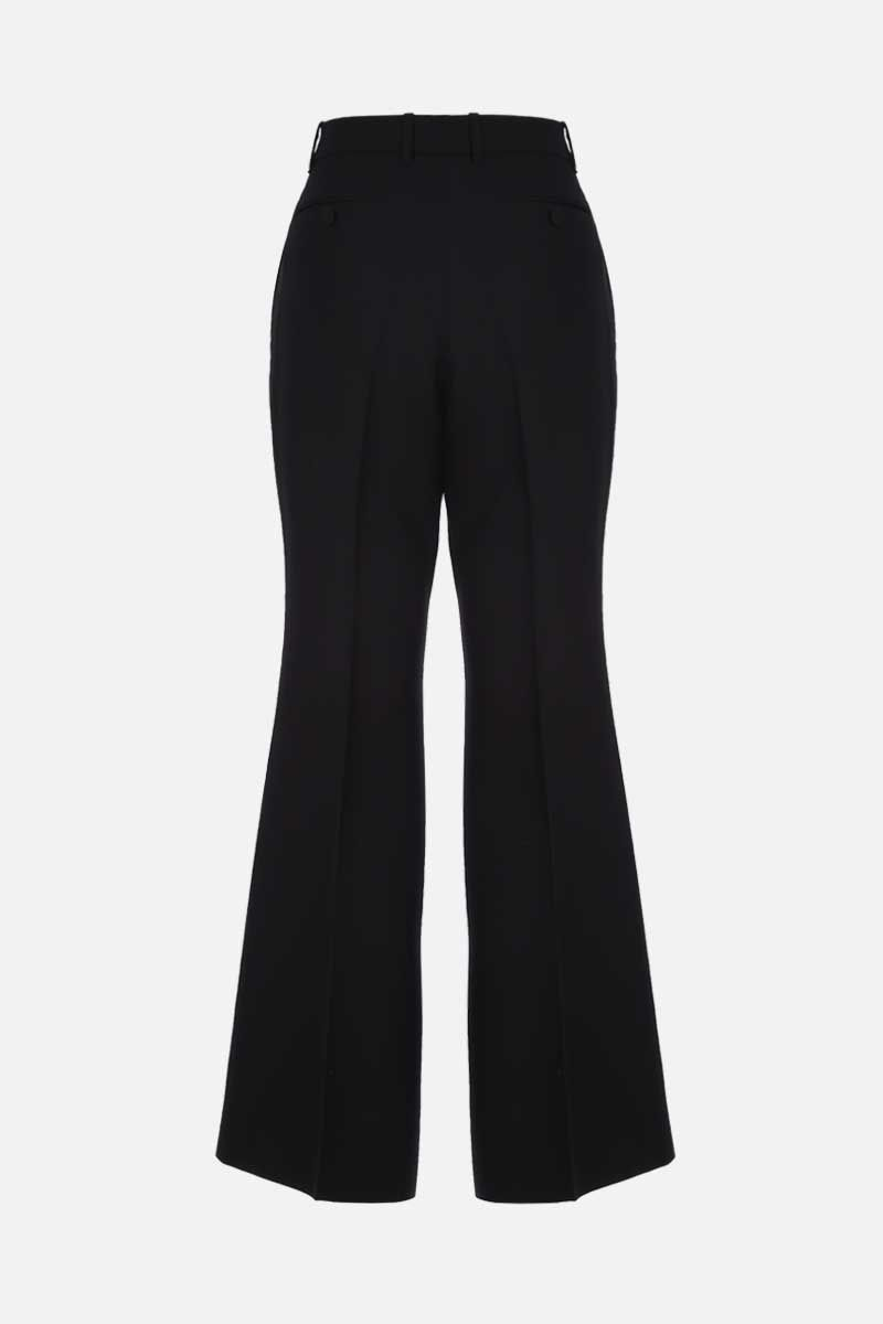 GUCCI: wool silk blend cropped pants Color Black_2