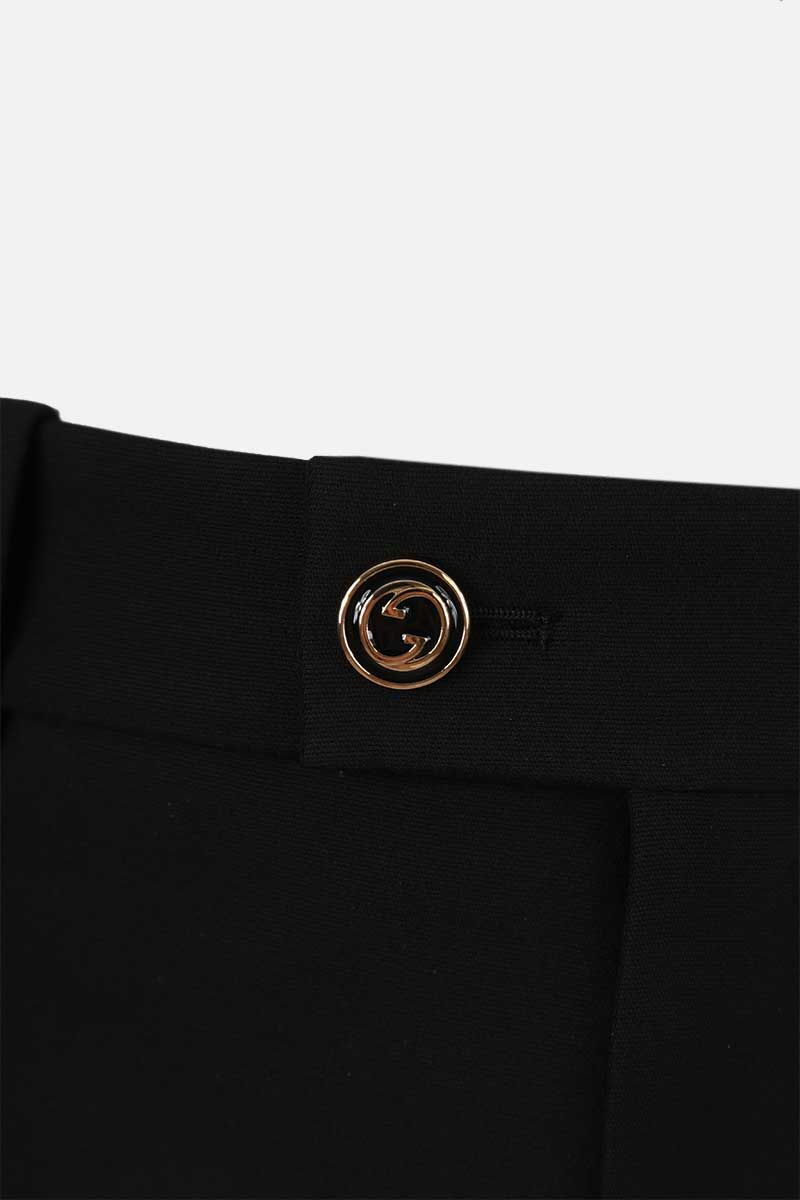 GUCCI: wool silk blend cropped pants Color Black_3