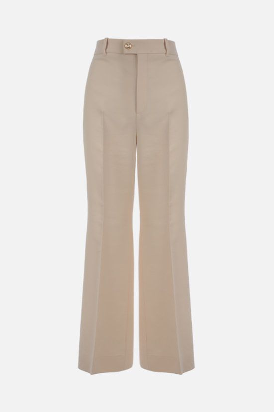GUCCI: wool silk blend cropped pants Color White_1